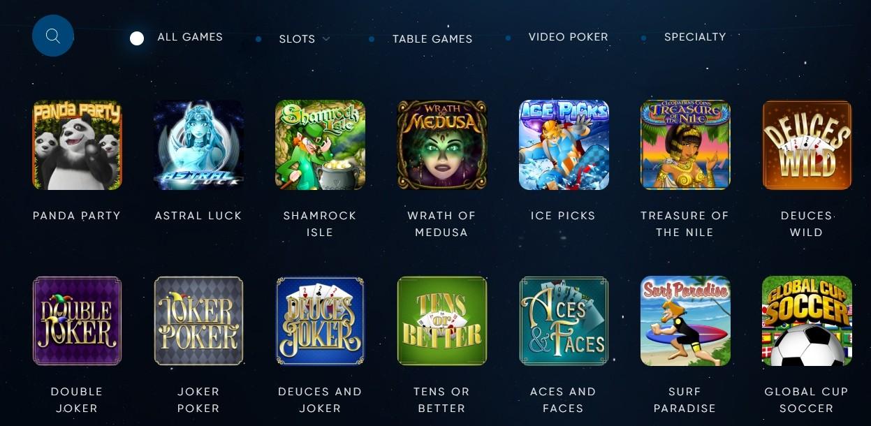 Eclipse Casino Spielauswahl