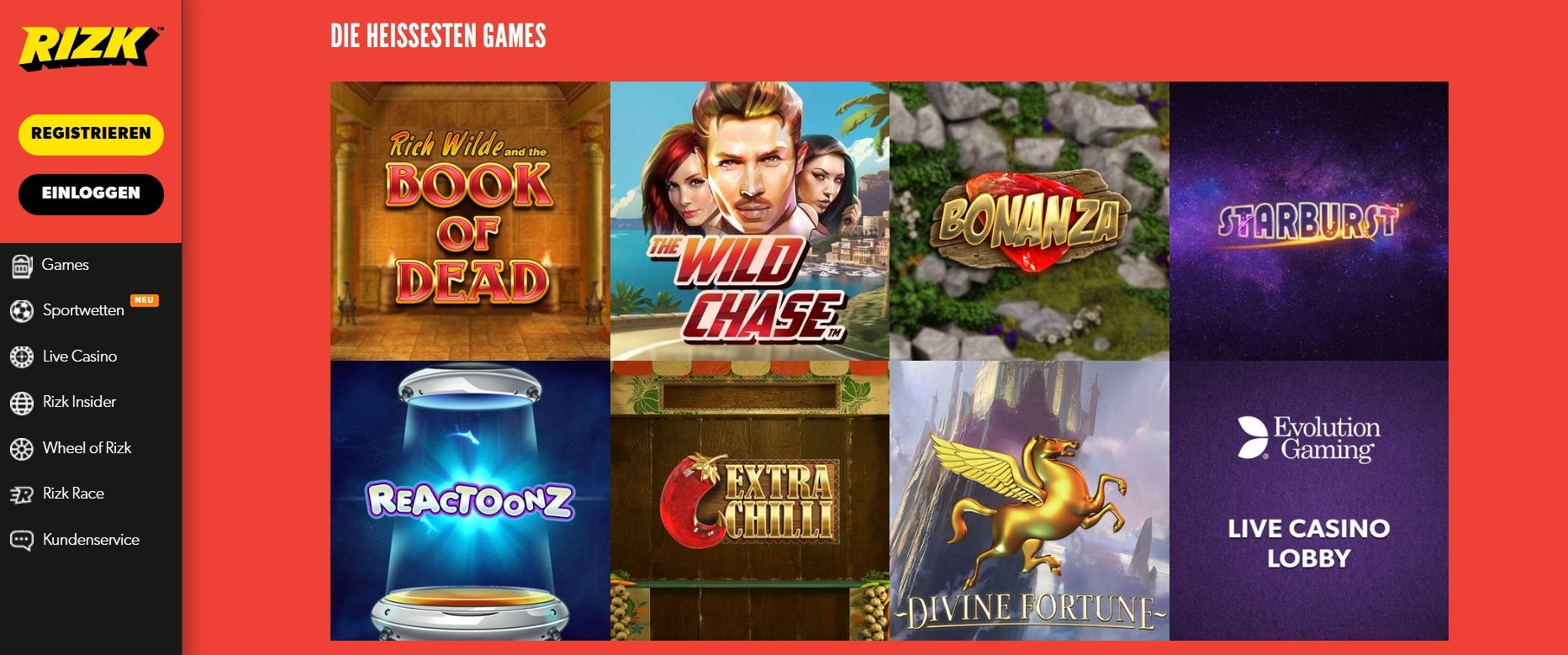 Rizk Casino Top Spiele