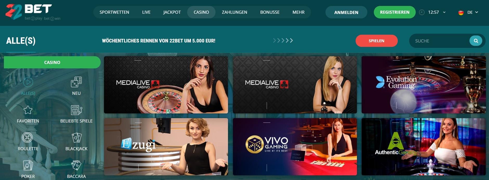 22bet Casino Spielesammlung