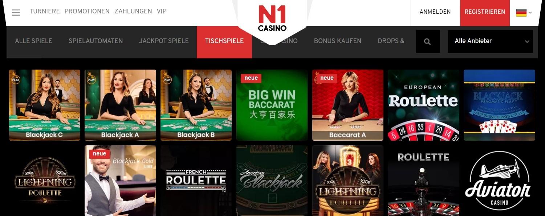 N1 Casino Klassische Tisch- und Kartenspiele