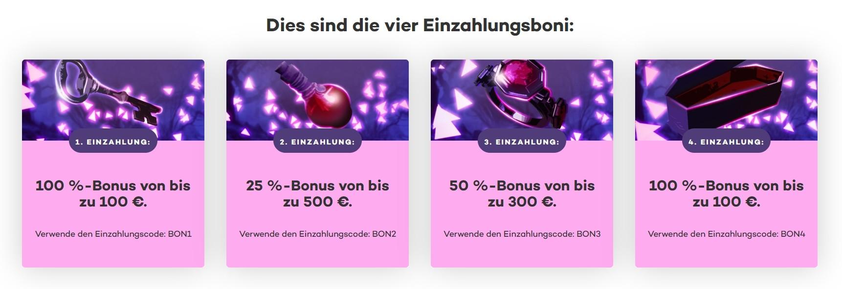 21.com Casino Willkommensbonus den ersten vier Deposits