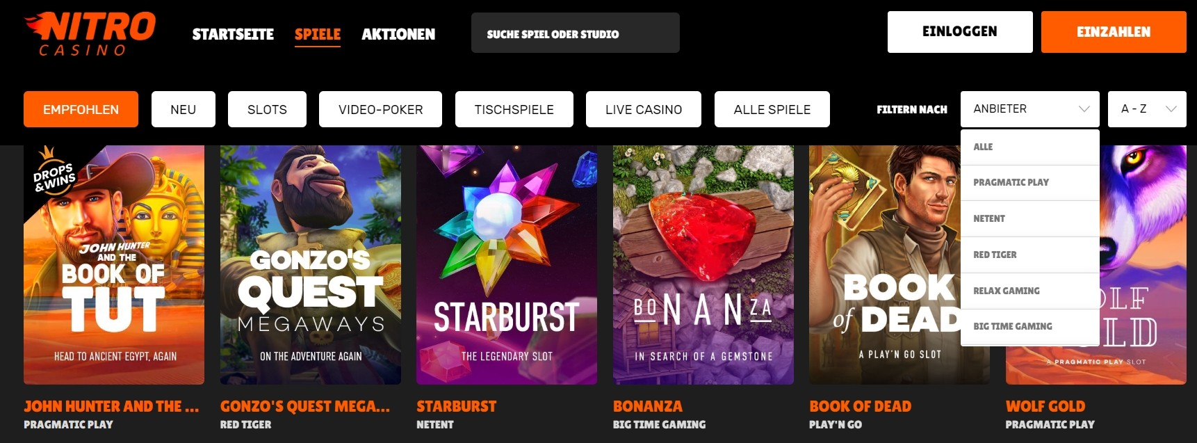 Nitro Casino Spielauswahl und Software-Entwickler