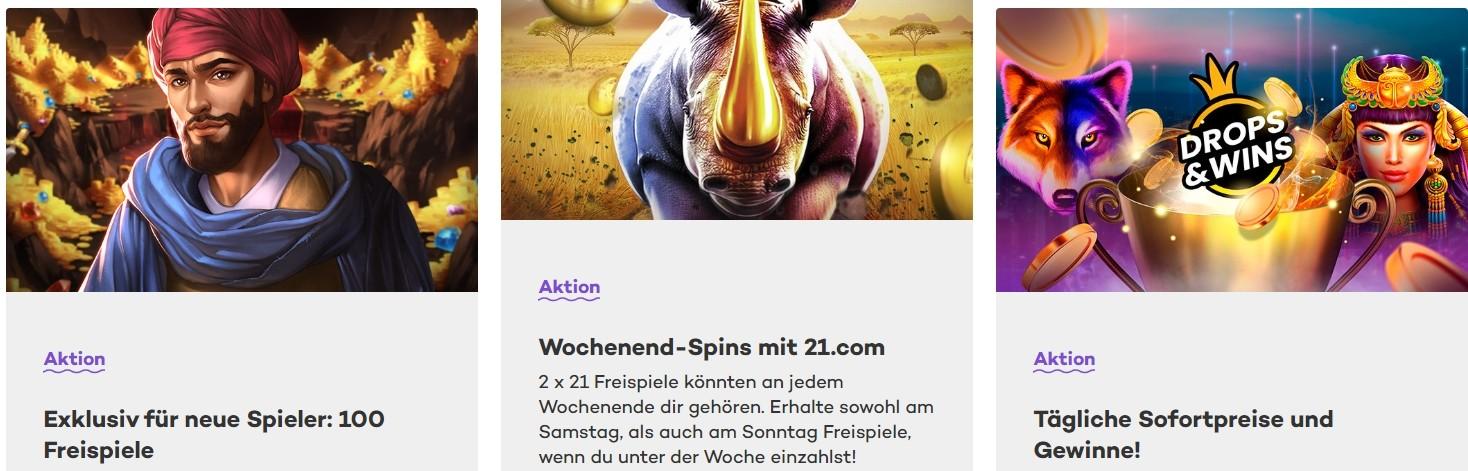 21.com Casino Einzahlungsbonusse für Stammkunden