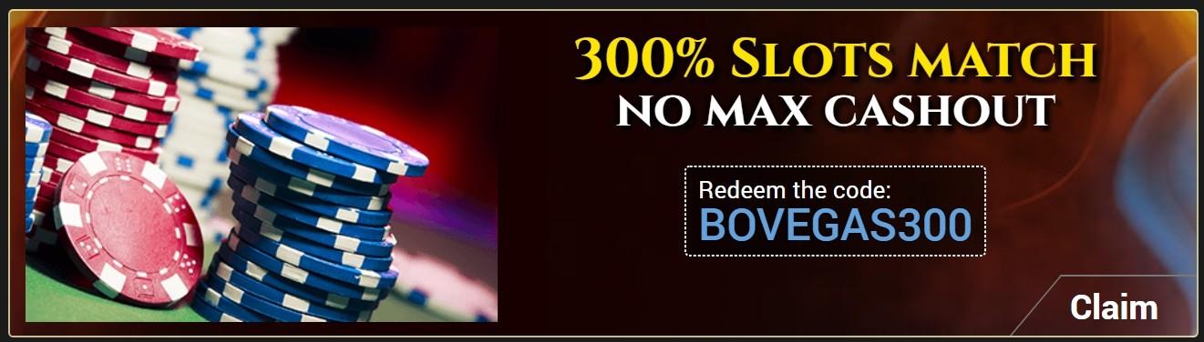 BoVegas Casino 300% Slots Match Bonus