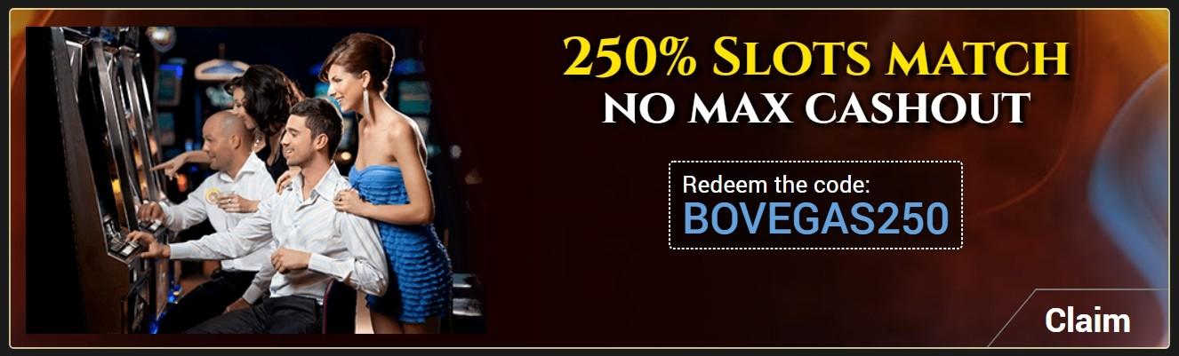 BoVegas Casino 250% Slots Match Bonus
