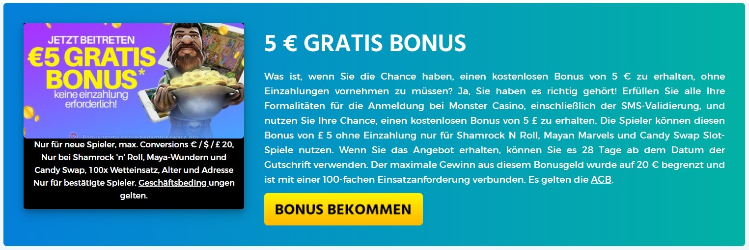 Monster Casino 5 € GRATIS BONUS