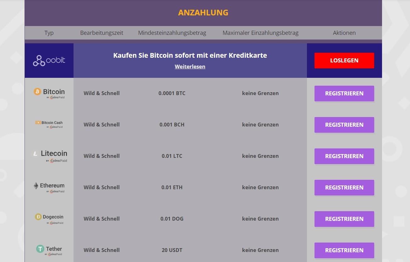 CryptoWild Casino Einzahlungen