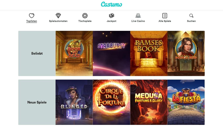 Casumo Casino Spielesammlung
