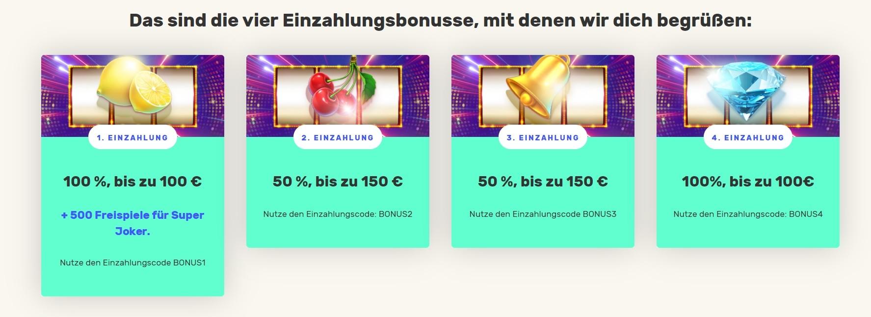 Justspin Casino Willkommenspaket mit den ersten vier Einzahlungen