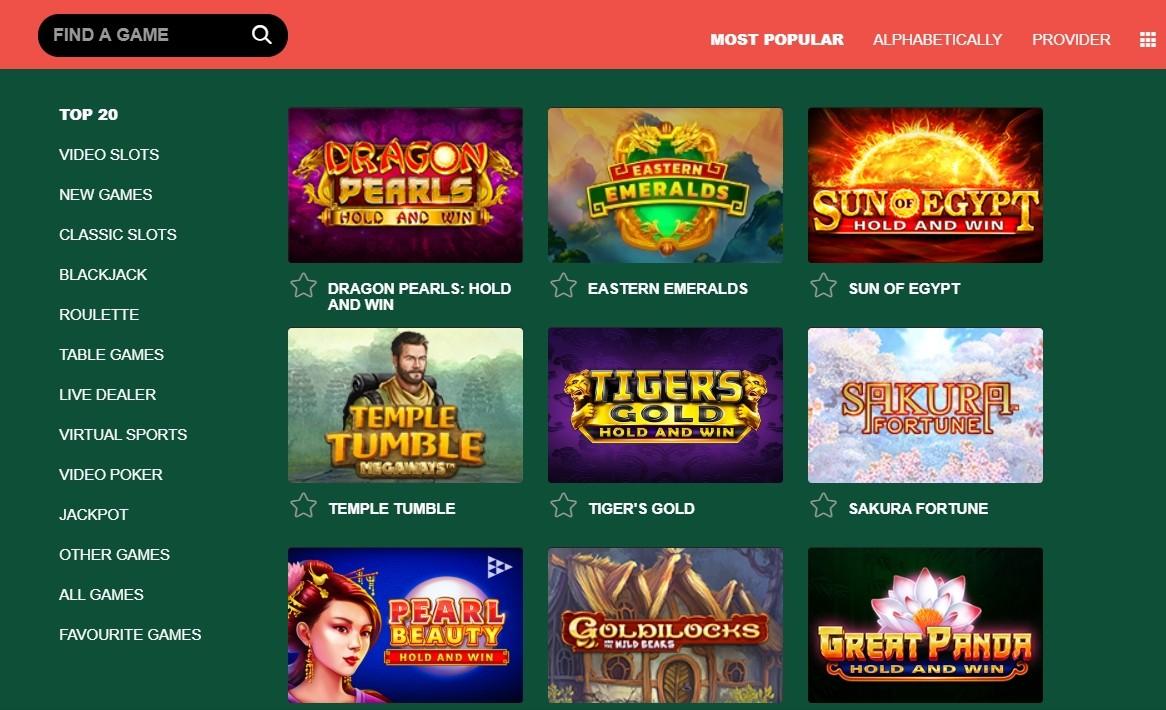 Casino-Mate Spielauswahl