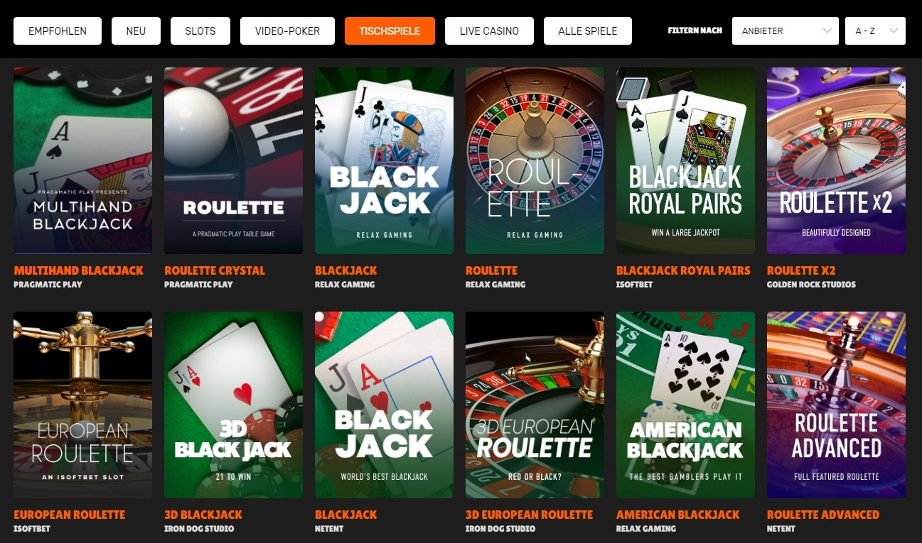 Nitro Casino Tischspiele