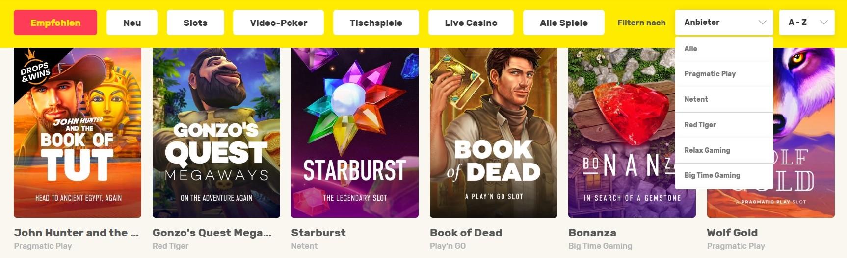 JustSpin Casino Spielauswahl und Software-Anbieter