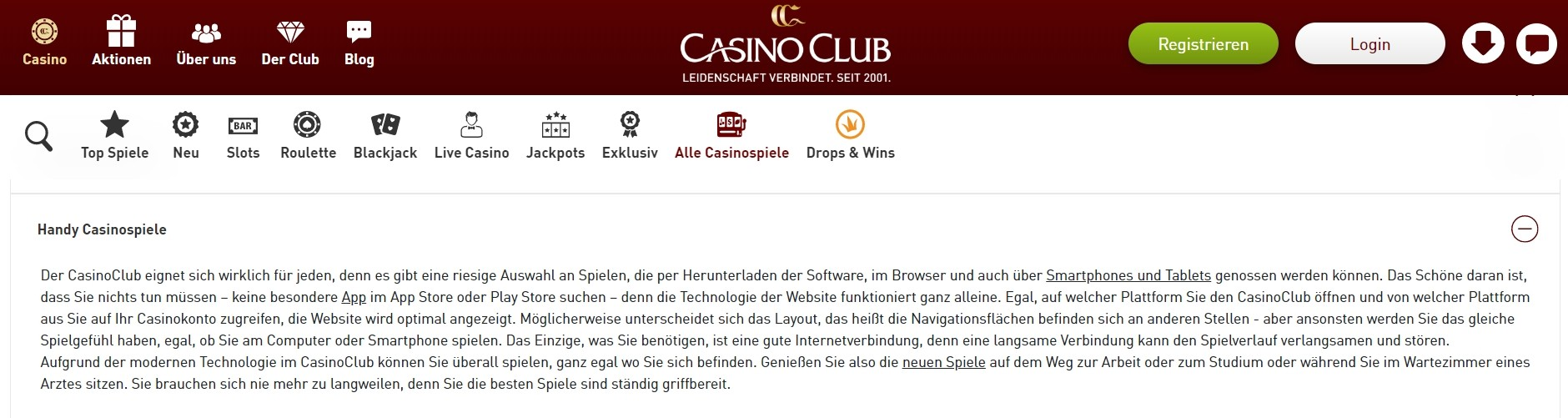 Casino Club mobile Spiele