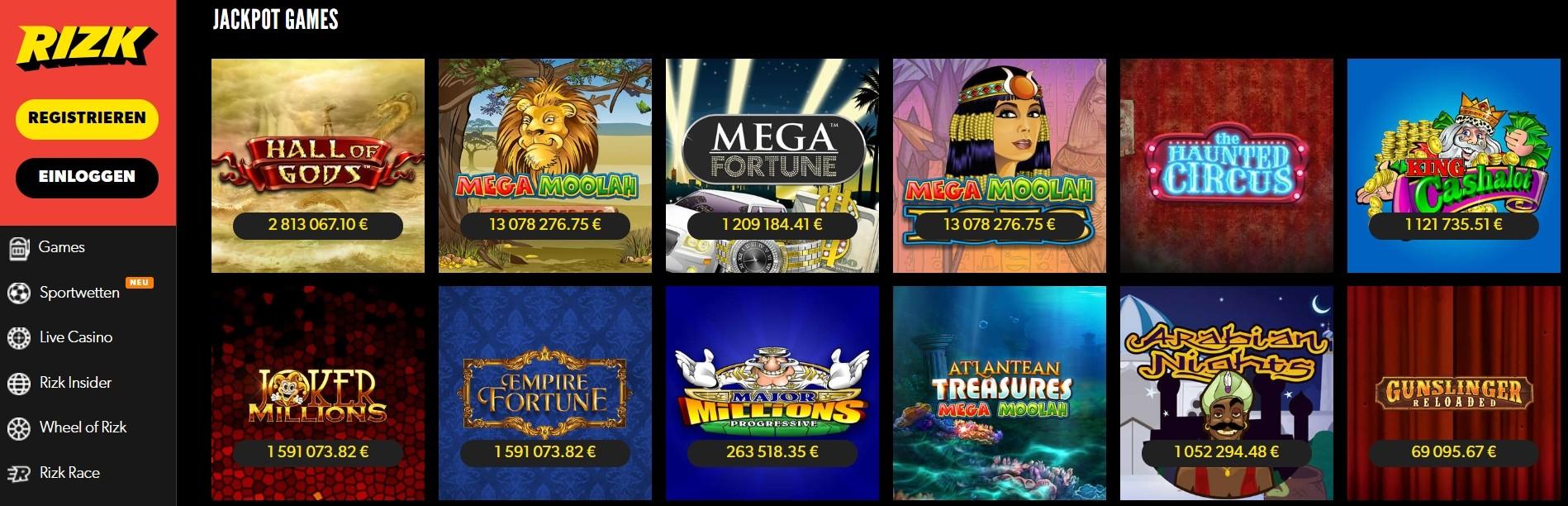 Rizk Casino Jackpots