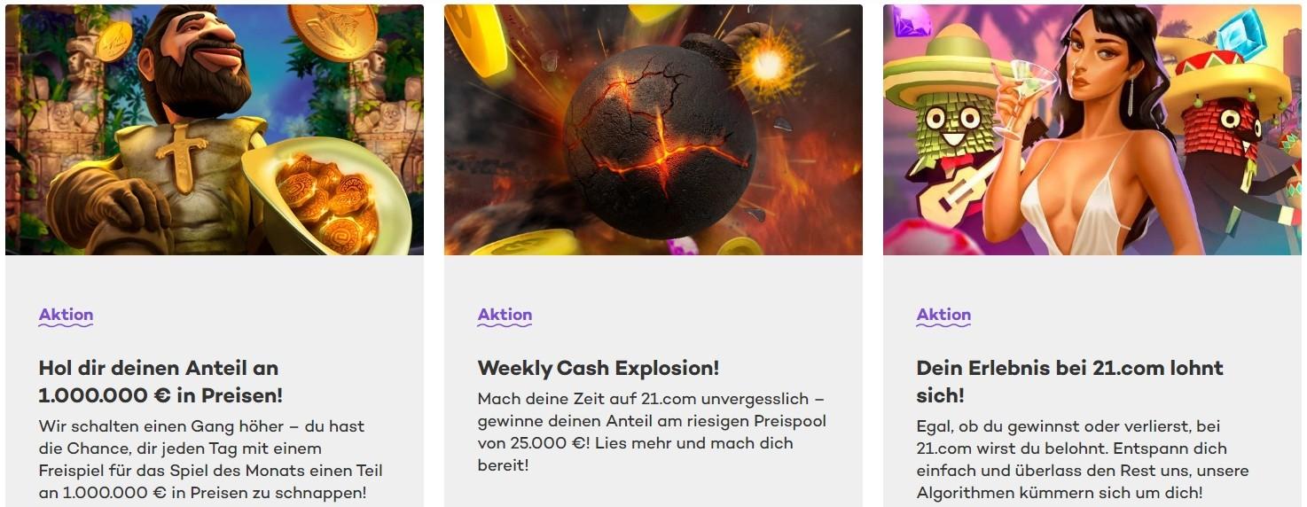 21.com Casino Einzahlungsboni für Stammkunden