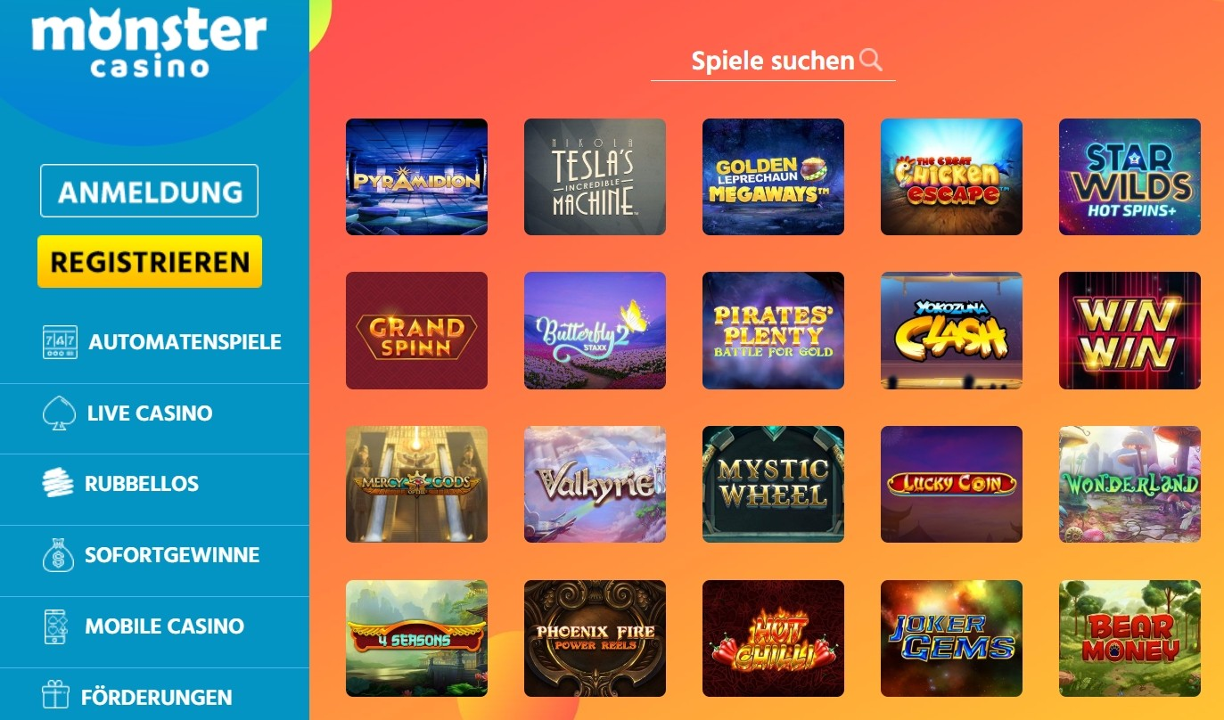 Monster Casino Spieloptionen