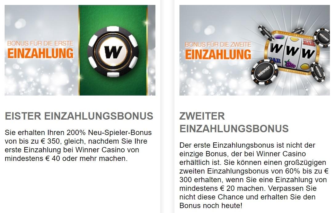Winner Casino Bonus für die erste und zweite Einzahlung